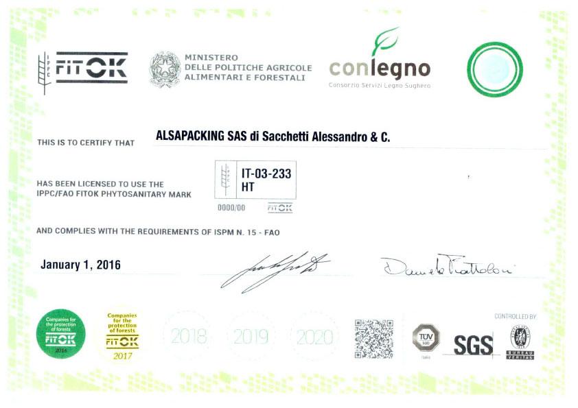 Alsapacking Certificazione Fitok FAO ISPM15
